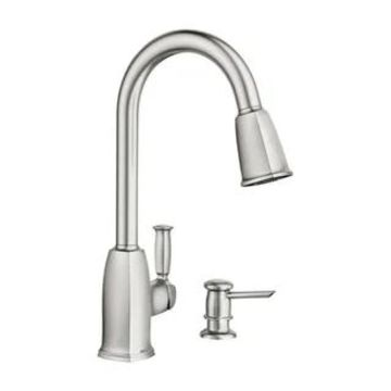 Moen Wellsley Stainless Steel 1-handle Kitchen Faucet with Spray