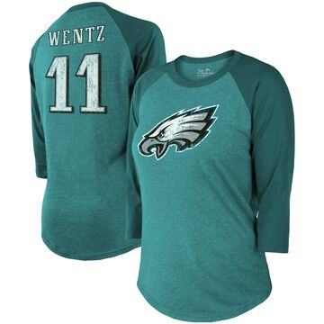 Majestic Threads Carson Wentz Philadelphia Eagles Women's Midnight Green Player Name & Number Raglan Tri-Blend 3/4-Sleeve T-Shirt