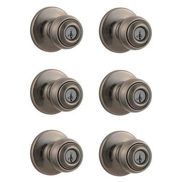 ''Kwikset Polo Patio Porch Keyed Locking Handle Door Knob, Antique Nickel (6 Pack)''