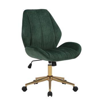 Porthos Home Lumi Office Chair, Velvet Upholstery, Golden Chrome Legs