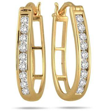 Marquee Jewels 10k Yellow Gold 1/2ct TDW Diamond Hoop Earrings