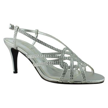 Caparros Womens Victory Silver/Metallic Ankle Strap Heels Size 7