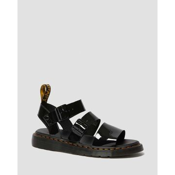 Dr. Martens, Gryphon Patent Leather Gladiator Sandals in Black, Size M 10/W 11