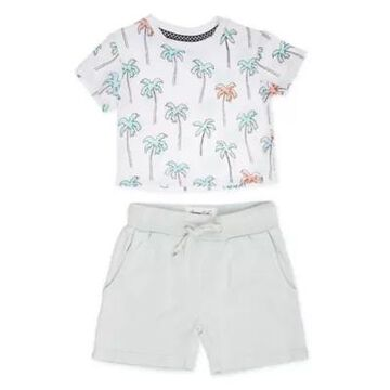 Sovereign Code Size 6M 2-Piece Palms Shirt and Short Set in White/Mint