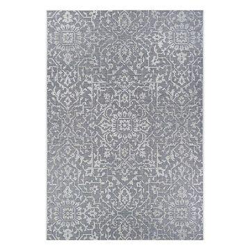 Couristan Monte Carlo Palmette Floral Indoor Outdoor Rug, Grey, 6X9 Ft