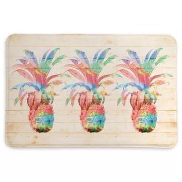 "Laural Home Colorful Pineapples 20"" X 30"" Memory Foam Bath Mat In Coral"
