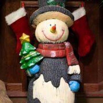 Alpine Corporation Indoor and Outdoor Wooden Christmas Snowman Statue