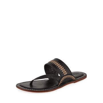 Mary Embroidered Flat Slide Sandals, Black