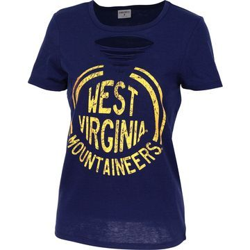 ZooZatz Women's West Virginia Mountaineers Blue Revival Ripped T-Shirt