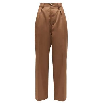 Marni - High-rise Tailored Wool-twill Trousers - Womens - Brown