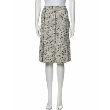 Tweed Pattern Knee-Length Skirt w/ Tags White