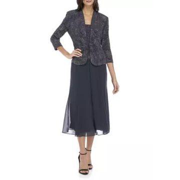 Alex Evenings Women's 2-Piece T-Length Mock Dress With Jacket Set - -