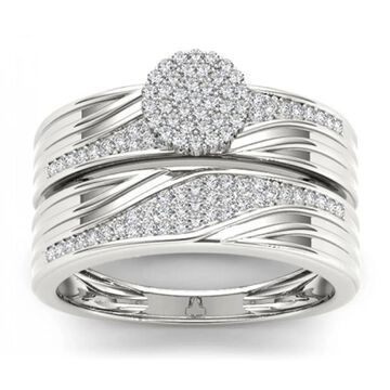 De Couer S925 Sterling Silver 1/3 ct TDW Diamond Cluster Engagement Ring Set