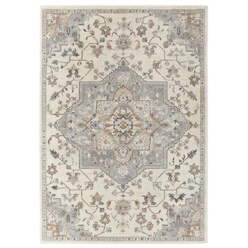 allen + roth Lifestyle Performance Tess 2 x 3 Cream Outdoor Medallion Area Rug in Off-White   5-8015-102