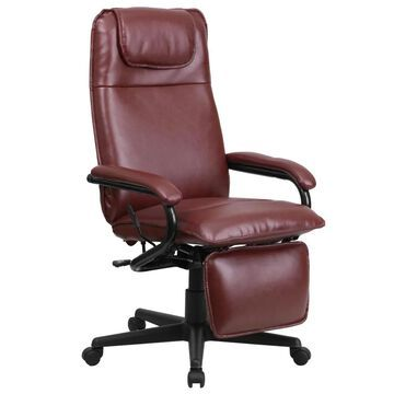 Flash Furniture Burgundy Contemporary Adjustable Height Swivel Desk Chair in Red | 847254053907