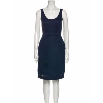 Scoop Neck Knee-Length Dress Blue