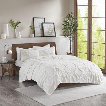 Home Essence Leena 3 Piece Tufted Cotton Coverlet Set, Full/Queen, White