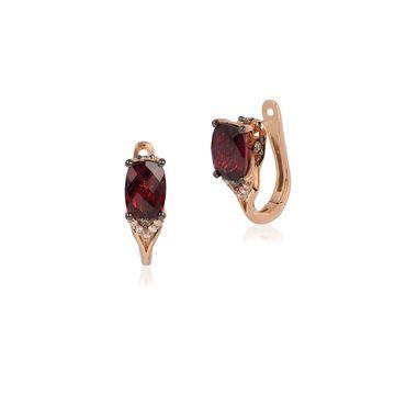 Le Vian Chocolatier 14K Strawberry Gold, Raspberry Rhodolite, Chocolate Diamonds & Vanilla Diamonds Huggie Hoop Earrings