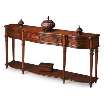 Offex Traditional Rectangular Oak Console Table, Brown