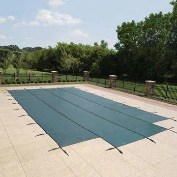 Blue Wave 18-Year Mesh In-Ground Pool Safety Cover w/ 4-ft x 8-ft Center Step - Green