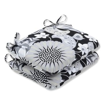 Pillow Perfect Outdoor/ Indoor Sophia Graphite Rounded Corners Seat Cushion (Set of 2)