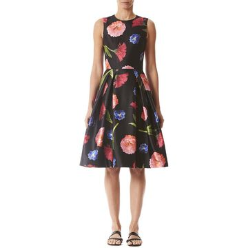 Carolina Herrera Sleeveless Silk-Blend A-Line Dress