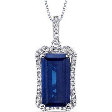 Oravo 7.00 Carat T.G.W. Octagon-Cut Created Blue Sapphire Rhodium over Sterling Silver Pendant, 18