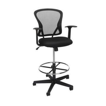 OFM Essentials Collection Mid Back Mesh Drafting Chair, Drafting Stool, in Black (ESS-3012-BLK)