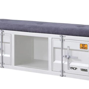 ACME FURNITURE Cargo Industrial Gray Fabric and White Storage Bench   35912