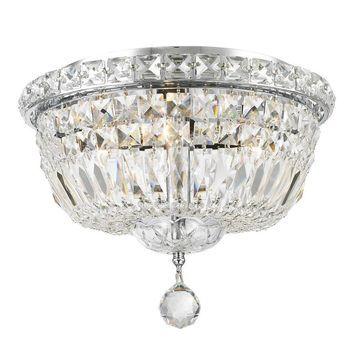 Worldwide Lighting Empire 12-in Chrome Crystal Flush Mount Light