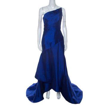 ML Monique Lhuillier Blue Beaded Detail Faille Trumpet Gown L