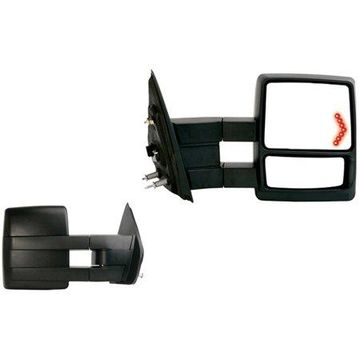 61183-84F - Fit System Towing Mirror Pair for 09-12 Ford F150 extendable, LED Arrow Turn Signal & puddle lamp, textured black, foldaway, Heated Power