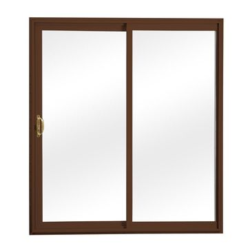ReliaBilt Clear Glass Brown Vinyl Universal Reversible Double Door Sliding Patio Door (Common: 60-in x 80-in; Actual: 58.75-in x 79.5-in)