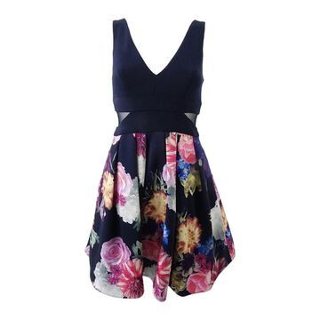 X By Xscape Women's Petite Floral-Print Fit & Flare Dress (14P, Navy/Pink) - 14P