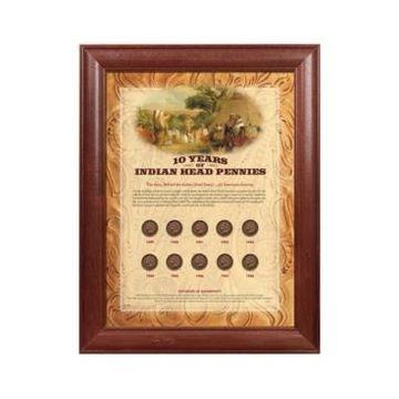 American Coin Treasures 10-Years of Indian Head Pennies in Wood Frame