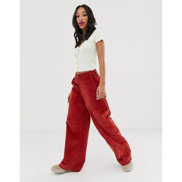 Noisy May wide leg high waisted cord pants in rust-Brown
