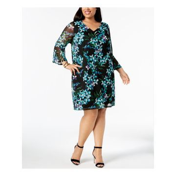 CONNECTED APPAREL Womens Black Sheer Teal Floral Long Sleeve V Neck Knee Length Shift Wear To Work Dress Plus Size: 20W