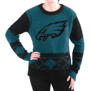 Philadelphia Eagles Klew Women's Eyelash Crew Ugly Sweater - Green