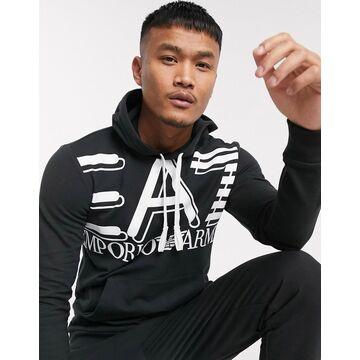 Armani EA7 Core ID large logo hoodie in black