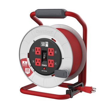 CRAFTSMAN CRAFTSMAN CONTRACTOR GRADE Retractable Extension Cord, 50 ft with 4 Outlets - 12AWG SJTW Cable - Outdoor Power Cord Reel in Red