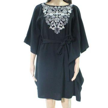Aidan Mattox Women's Shift Dress Black Size 4 Embellished Belted