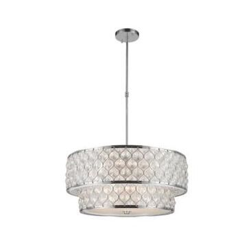 Worldwide Lighting Paris 12-Light Chrome Finish with Clear Crystal Drum, 2-Tier Pendant Light