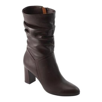 David Tate Women's Velvet Mid Calf Slouch Boot Brown Lambskin