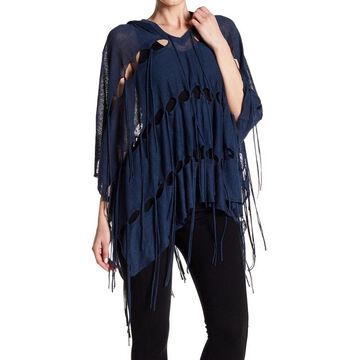 Haute Hippie Womens Small Hooded Cutout Fringe Poncho