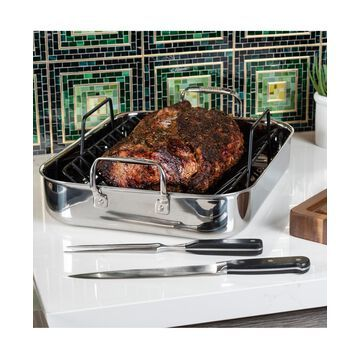 Viking 3-Ply Stainless Steel Roasting Pan with Rack & Bonus Carving Set