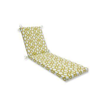 Indoor/Outdoor Nunu Geo Wasabi White Chaise Lounge Cushion - Pillow Perfect