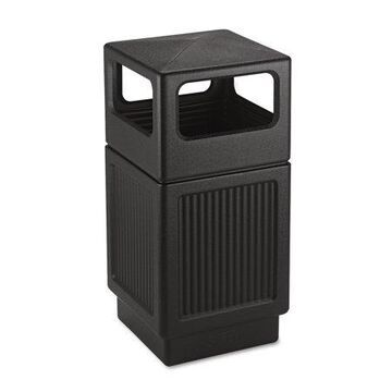 Safco Products Canmeleon Side-open Receptacle, Square, Polyethylene, 38 Gal, Textured Black