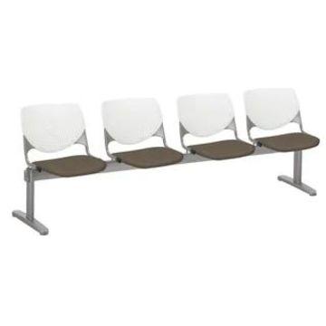 KFI KOOL 4 Seat Upholstered Reception Bench (Java, White)