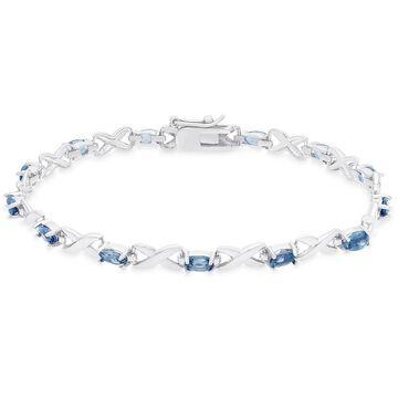 Dolce Giavonna Gold Over Sterling Silver Oval Cut London Blue Topaz XO Link Bracelet