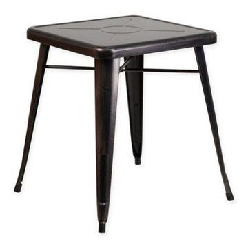 Flash Furniture 27.75-Inch Square Antique Metal Indoor/Outdoor Table in Black/Gold